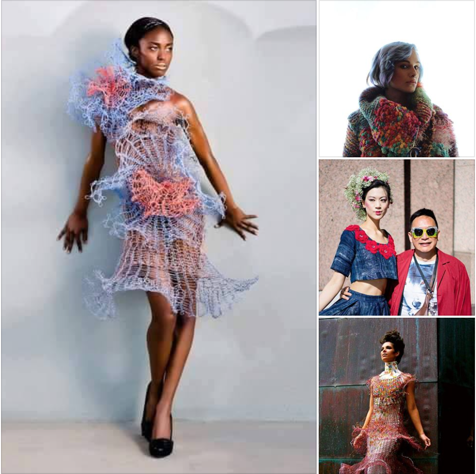 TUAN TRAN - USA 'Eco Glamorous' Collection 'Creating beautiful garments and art that defy the source materials is a challenge. Creating beauty from source materials which are up-cycled and re-purposed is my obsession. Life is colorful. I am colorful. Art and Fashion reflect life. My Fashion design and art reflect me. The color's of thread, cloth, wire, ribbon, are my pallet. Recycled Materials are the Ethos of my Fashion Design & Art. The colors and textures of material, thread and wire, appear in much of my work. The elements or materials used in composing my Fashion and Art are as varied as the resulting end design'. Tuan.