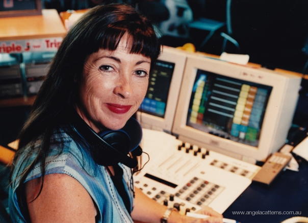 Angela Catterns   -   ABC Radio studio, 1996      With new KLOTZ radio panel
