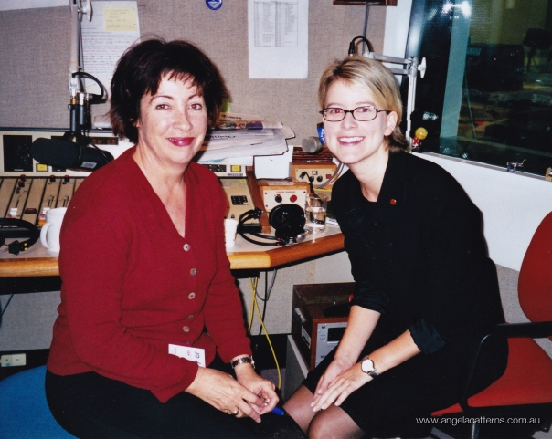 Angela with Senator Natasha Stott-Despoja   -   ABC studio, Parliament House Canberra, 1996