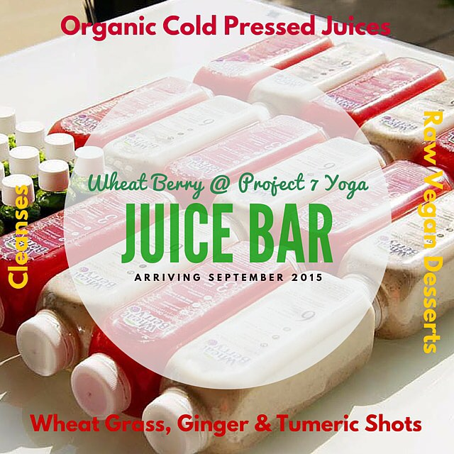 Are you ready? Organic cold pressed juices, wheatgrass shots and raw vegan desserts are coming to #project7yoga courtesy of #wheatberrycafe! #healthychoices
