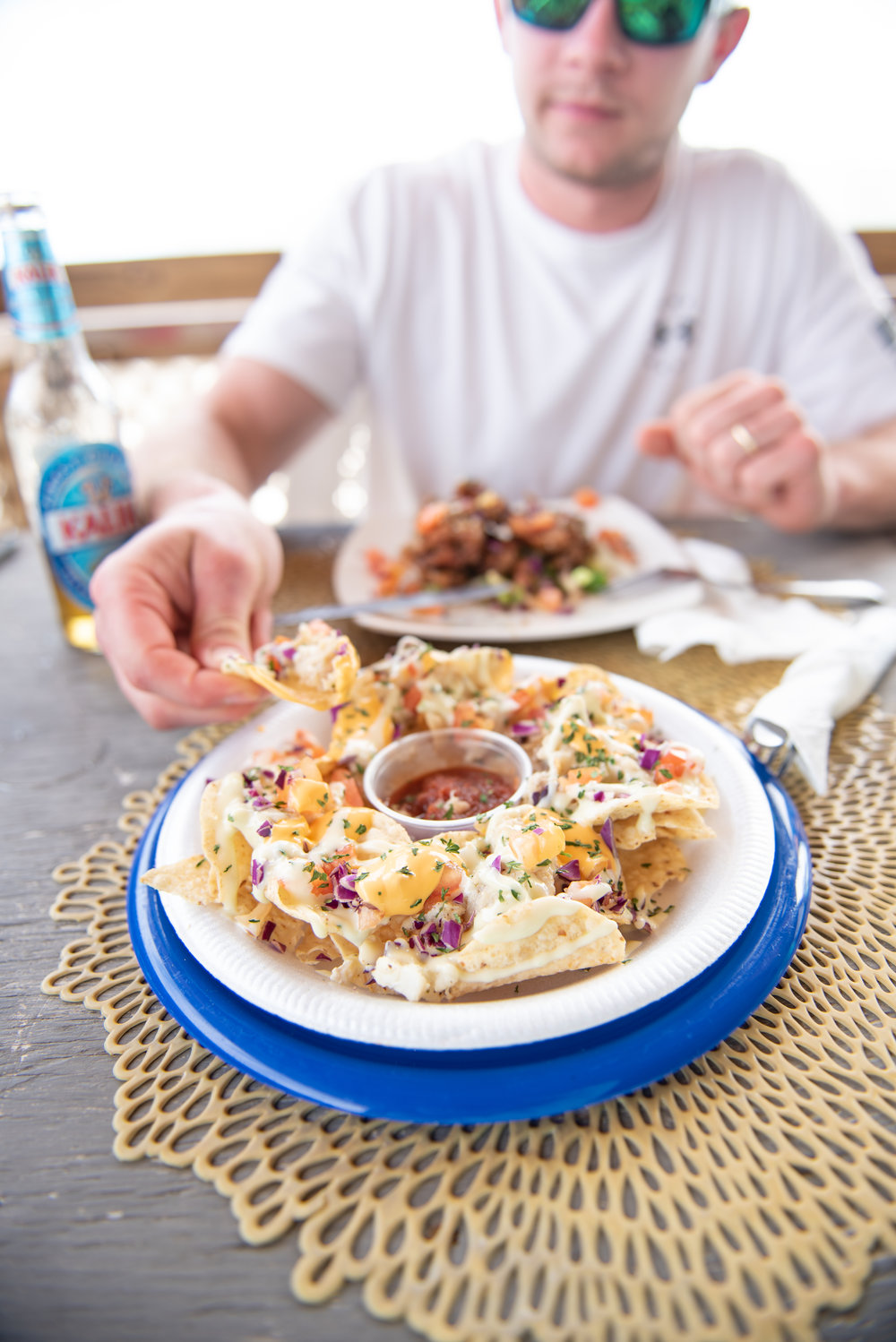 We were told we HAD to try the conch nachos at Tropic Breeze Restaurant, and we were so glad we did! They were absolutely delicious! So were the wings!
