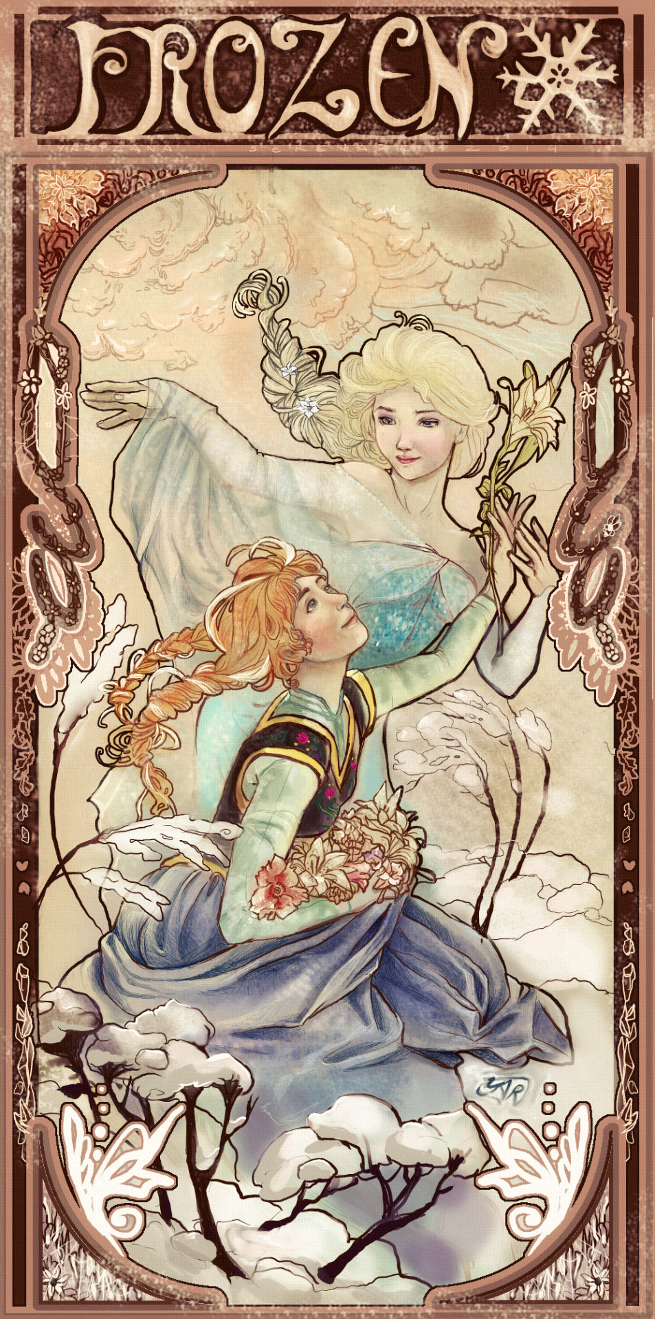 My jaw hit my computer desk when I saw this! Frozen + Mucha!!! So gorgeous.  For more works by this artist, go to: http://yartzana-serenade.deviantart.com/