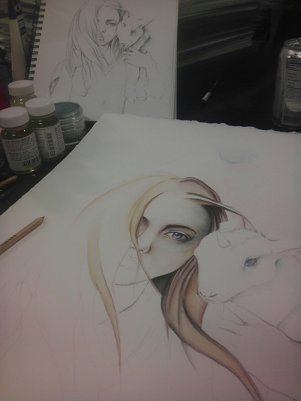 I started a new painting at the studio today. Dedicated to my furbabies and inspired by Clarice from Silence of the Lambs.