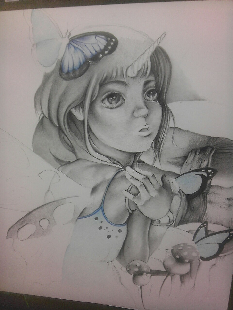 A new ball-jointed doll drawing in progress! She wants to become a butterfly so she can be free.