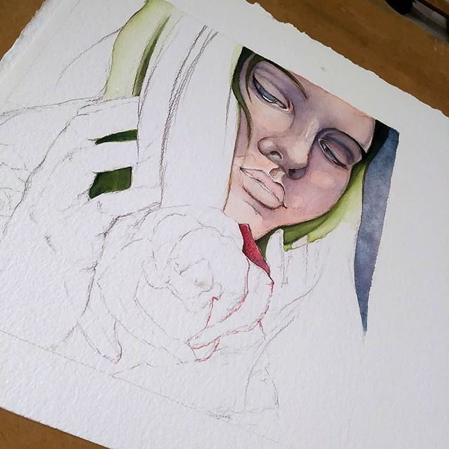 "More progress on ""Briony"" today. #wip #newcontemporary #watercolor #popsurrealism #illustration #instaart #artistsoninstagram #chicagoartist #darkart #ostara #seedstarting #hope"