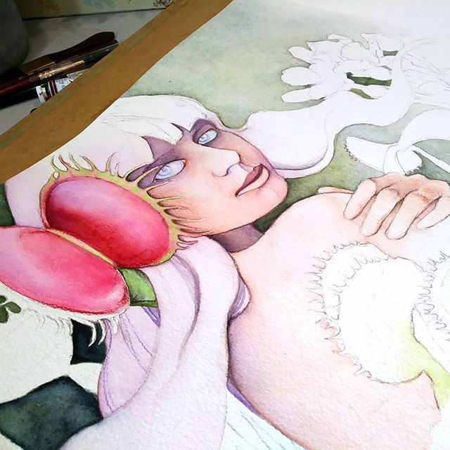 "Progression of ""Ira"" so far. I love painting through my emotions. Art allows me to feel everything, even the things i would never say out loud. #sevensins #watercolor #newcontemporaryart #feminist #darkart #blickartmaterials #popsurrealism #portrait #venusflytrap #beautifulbizarre #artlife #mompreneur #visiblewomen"