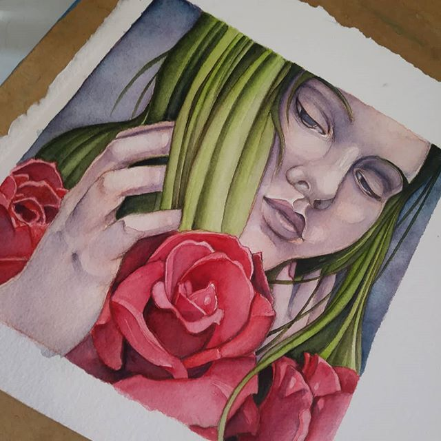 Finished up Briony last week! This painting and prints will be available at #panoply2019 in #huntsvillealabama in just a few weeks! #artshuntsville #hsv #spring #watercolor #newcontemporaryart #popsurrealism #illustration #artoftheday #beautifulbizarre #artlife #artfair #goddess #mythology
