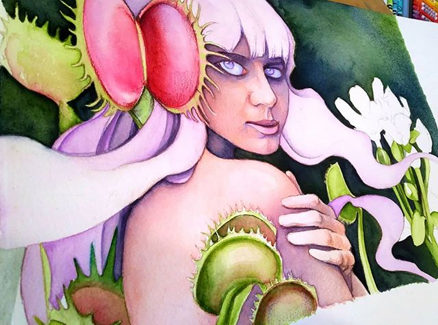 "Looking forward to working on ""Ira"" again tomorrow! Tues, Wed, and Thurs are my official art days since Lucien's nanny comes over on those days. 12 hours/week have never been more helpful to me! #watercolor #sevensins #sevendeadlysins #wrath #venusflytrap #carnivorousplants #darkart #blickartmaterials #danielsmith #popsurrealism #newcontemporaryart #illustration #wip #artlife #workingmom #visiblewomen #mompreneur"