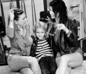 Ambie  (Stepmommy),  Ayla  &  Molly  (Mommy) goofing off at shoot.