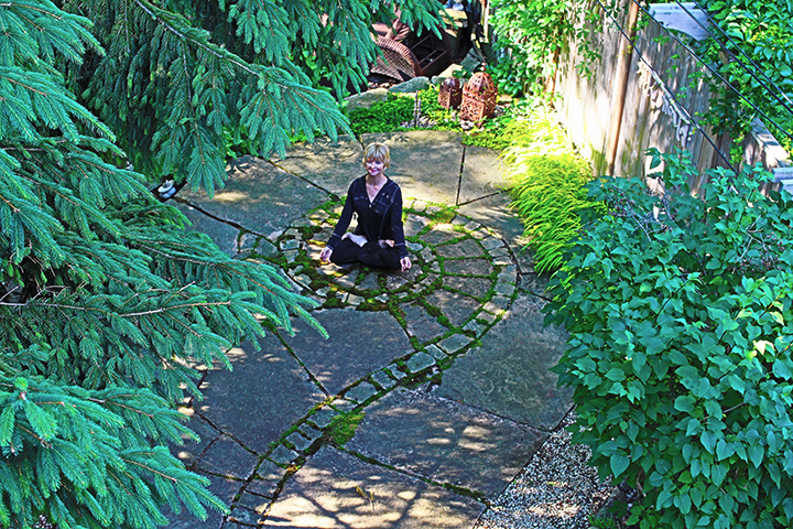 Celeste on spiral in backyard of her studio
