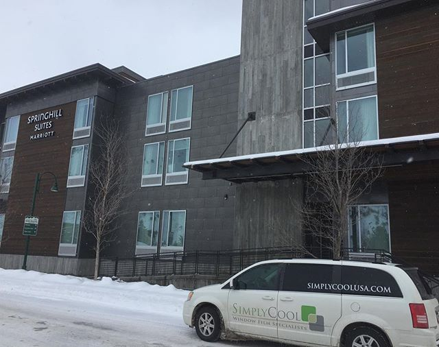 Project for a few days.  The condos on the 4th floor of this Springhill Suites in Jackson, Wy are getting window tint for our friends @lakecityloft . #simplycoolusa #jacksonhole #suntek #windowtreatments #windowtint #windowfilm #lakecityloft #utah #saltlakecity #utahinteriordesign