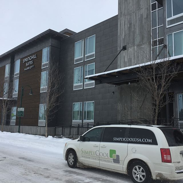 The 4th floor Springhill Suites by Marriott in Jackson Hole got our Suntek Symphony window film to cut glare, block the UV and reduce the heat. . #simplycoolusa #suntek #jacksonhole #jacksonholewyoming #utah #saltlakecity #utah #windowtreatments #windowtint #windowfilm #utahinteriordesign