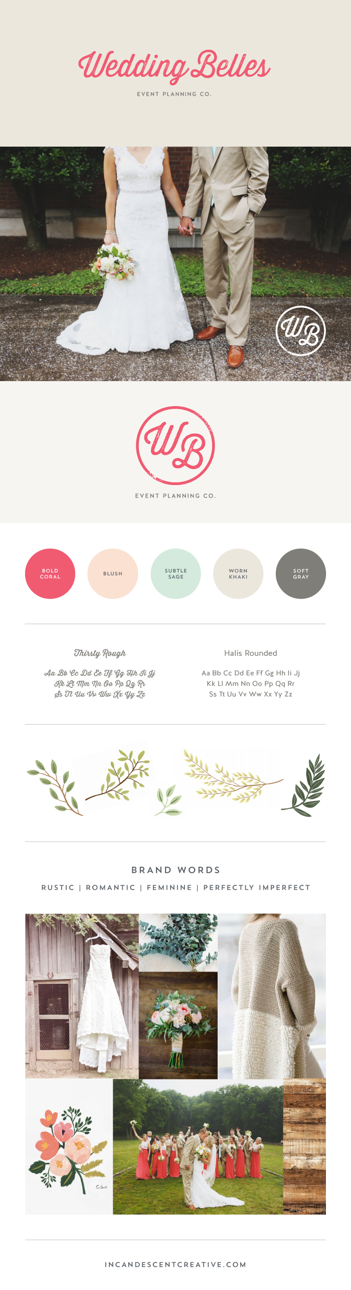 Brand style board for Wedding Belles by Incandescent Creative