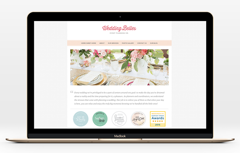 Website design for Wedding Belles event planning company by Incandescent Creative