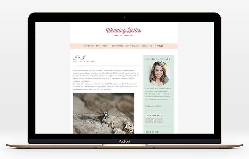 Blog design for Wedding Belles by Incandescent Creative