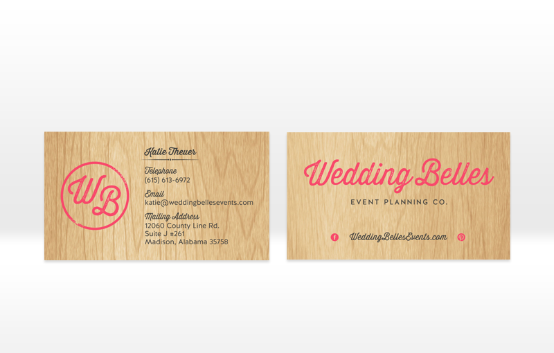 Wooden business cards rustic design for Wedding Belles by Incandescent Creative