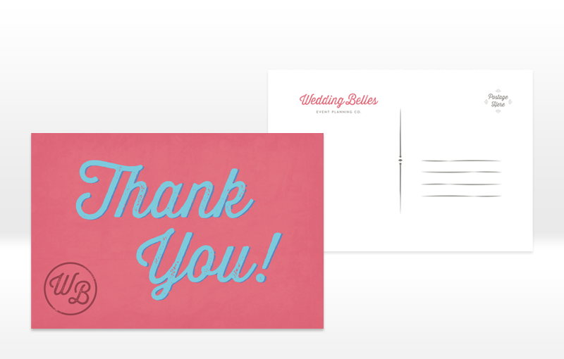 Thank You postcard design for Wedding Belles by Incandescent Creative
