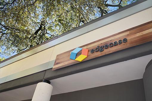 Edgecase logo signage on office building –design by Incandescent Creative