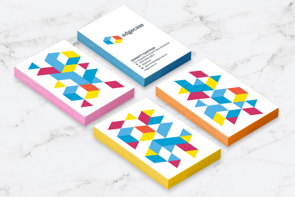 Business cards bright geometric pattern design for Edgecase | Incandescent Creative