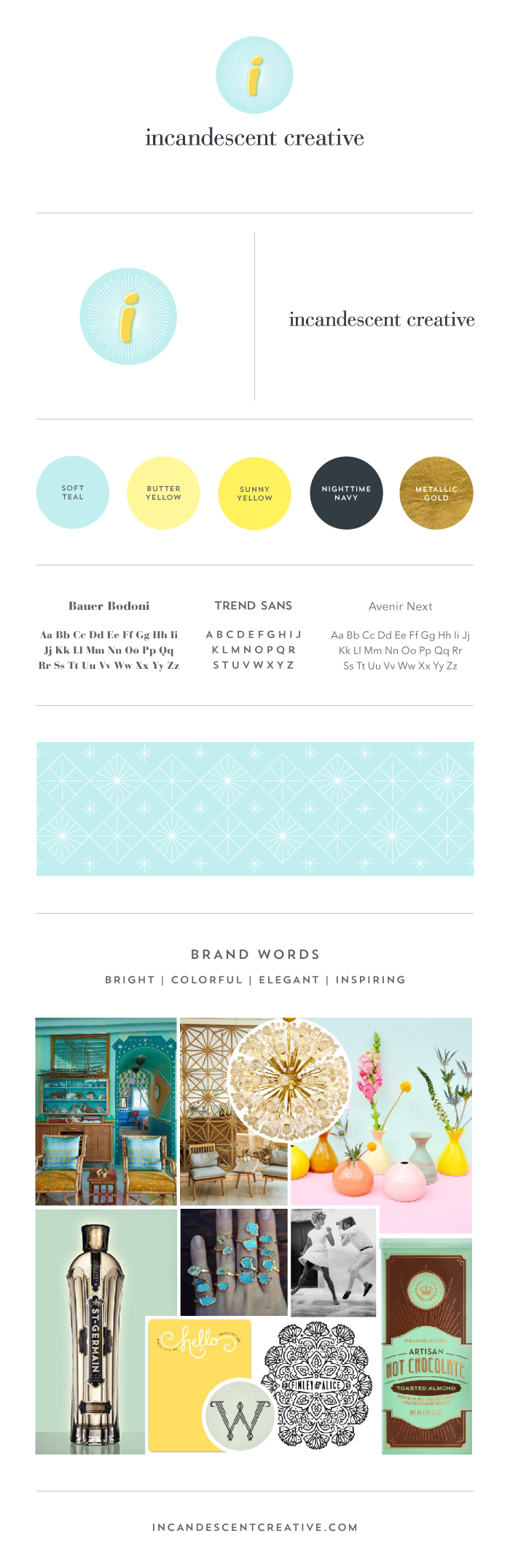 Brand style board for Incandescent Creative branding & design studio
