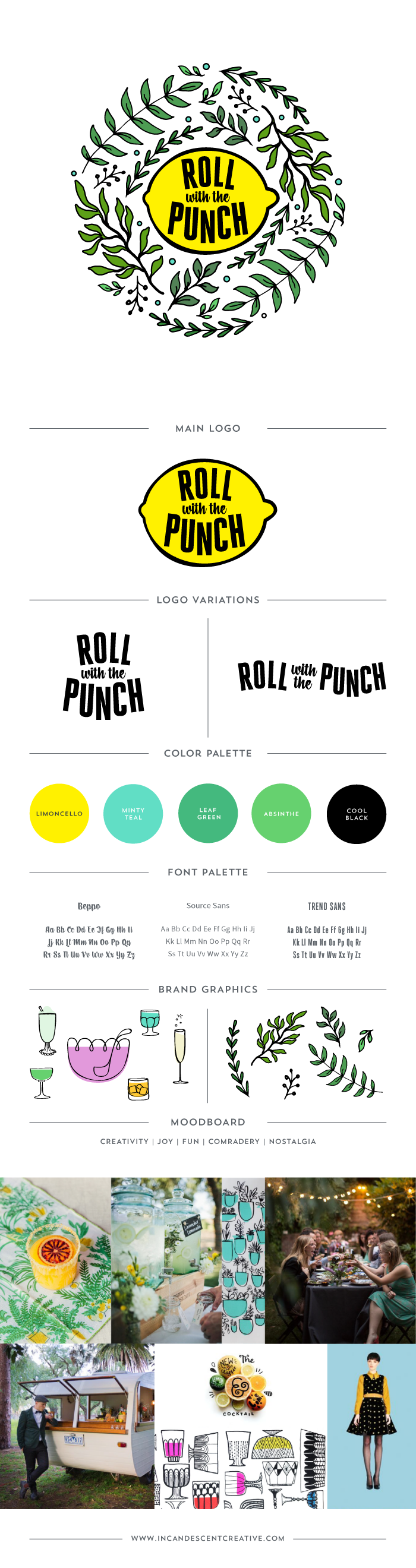 Logo & Brand Style Board for Roll With The Punch by Incandescent Creative – @incndscntcr8tiv  | branding, graphic design
