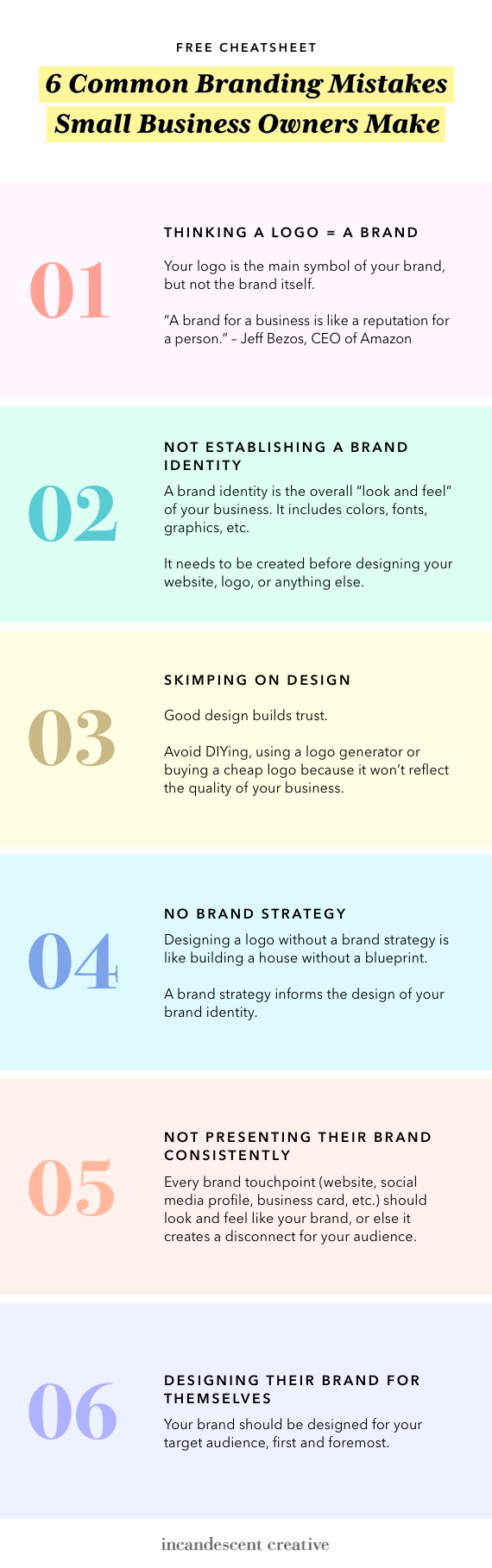 Cheatsheet: 6 Common Branding Mistakes Small Business Owners Make