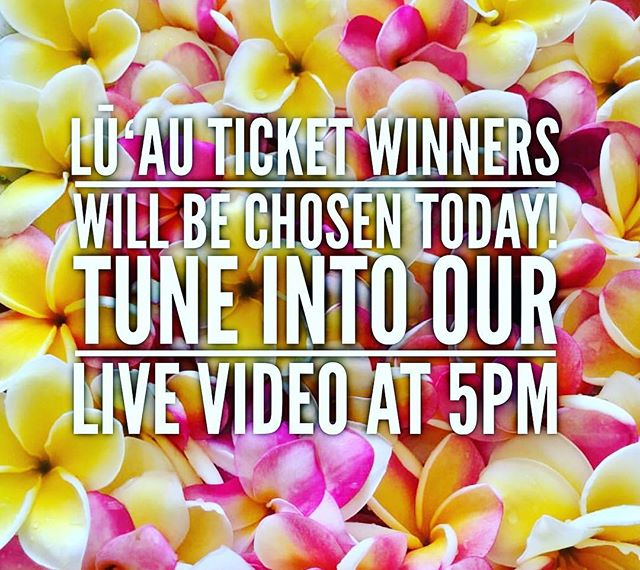 TODAY WE WILL CHOOSE A WINNER! TUNE INTO OUR LIVE VIDEO AT 5PM (Hawaiʻi Time)🌺 REMEMBER, ITS NOT TOO LATE!  CHECK PREVIOUS POSTS TO ENTER IN OUR LŪʻAU TICKET GIVEAWAY!