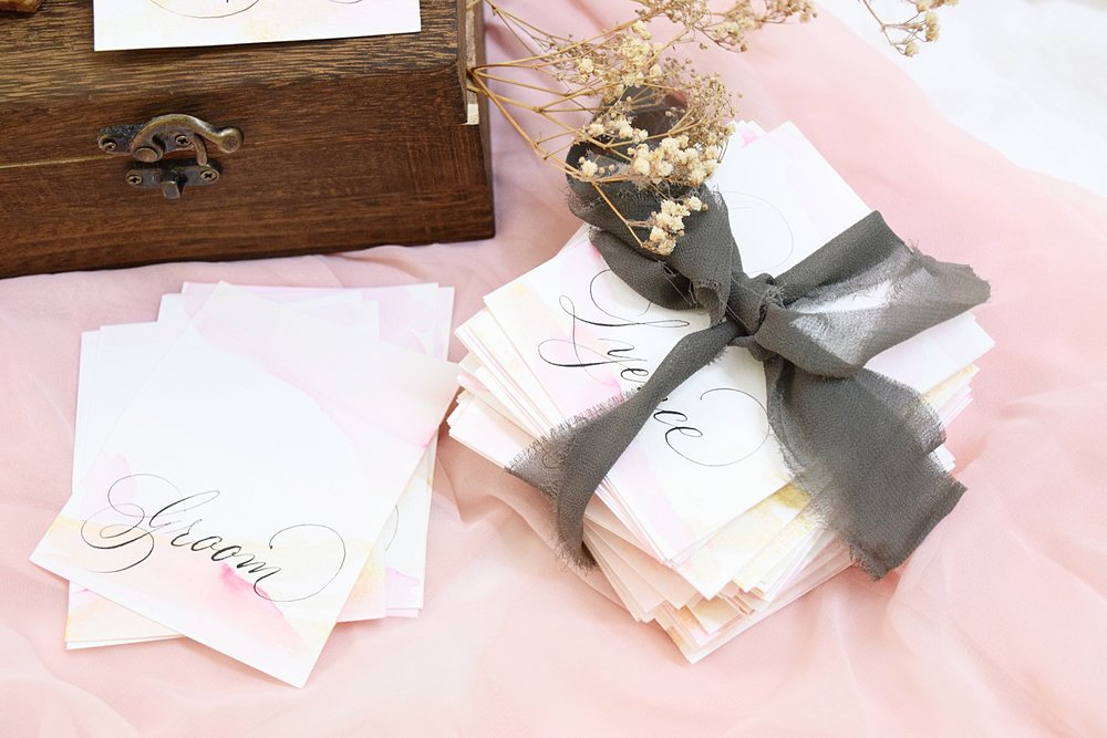 Handwritten Placecards - Classic black and white, illustrated, or shimmery hand torn placecards, the possibilities are endless for weddings or to add a touch of bespoke luxury to your event.