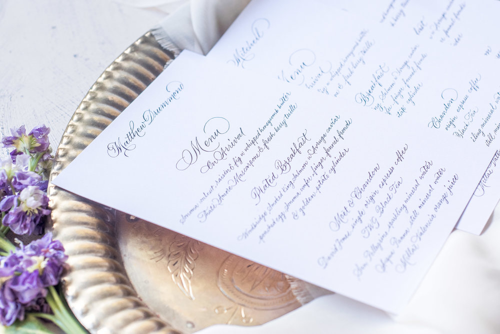 Handwritten Menus as Place Cards