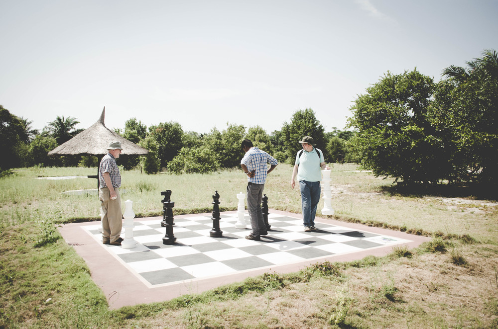 They found a life size chess set and played it