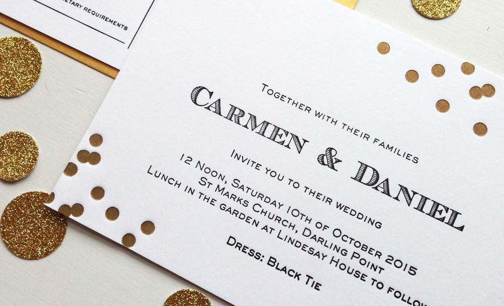 A classic two colour letterpress wedding invitation