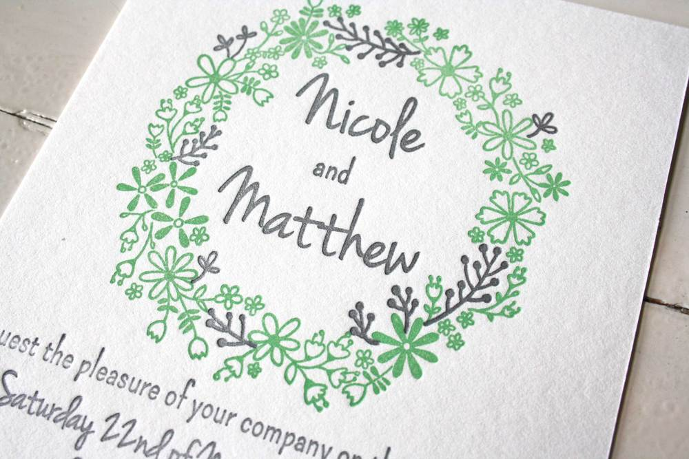 Another example of a two colour letterpress wedding invitation.