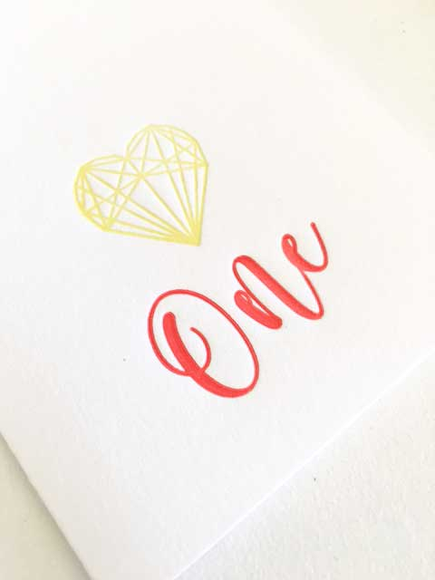 Letterpress First Birthday Card
