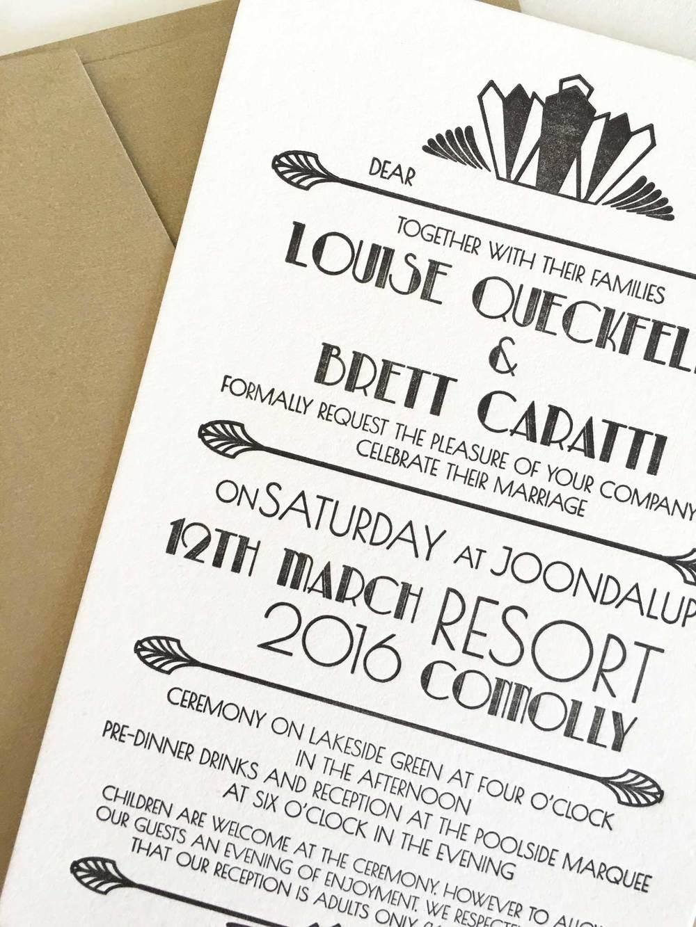 Art Deco Wedding Invitations — Coco Press