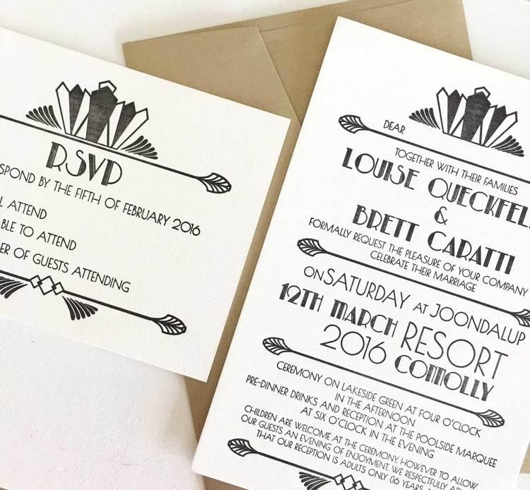 Art deco wedding invitations coco press art deco wedding invitations stopboris Choice Image