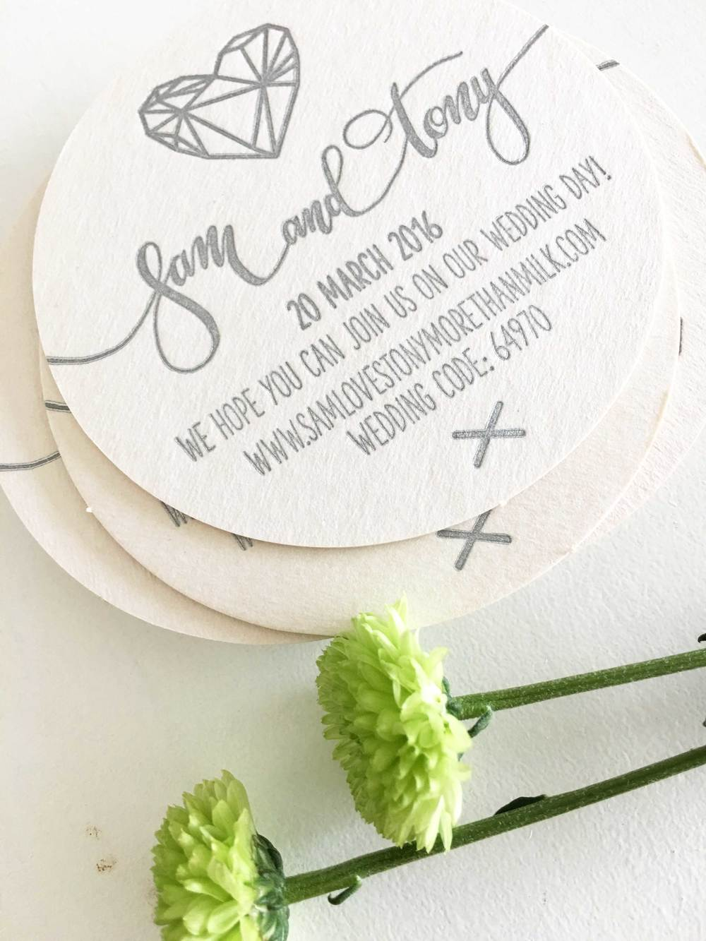 Letterpress Coaster Invites