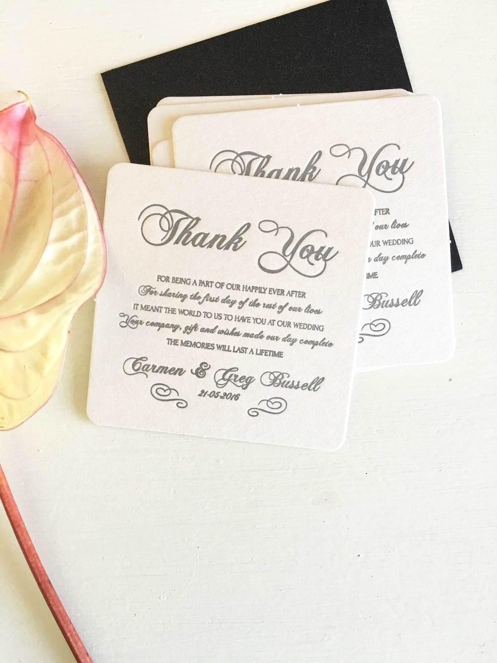 Wedding Thank You Coasters — Coco Press