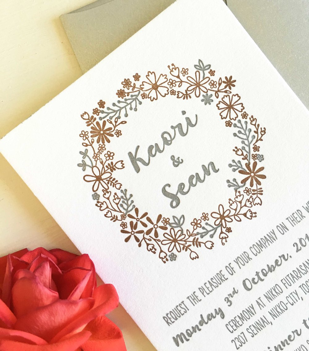 Floral Letterpress Wedding Invitations