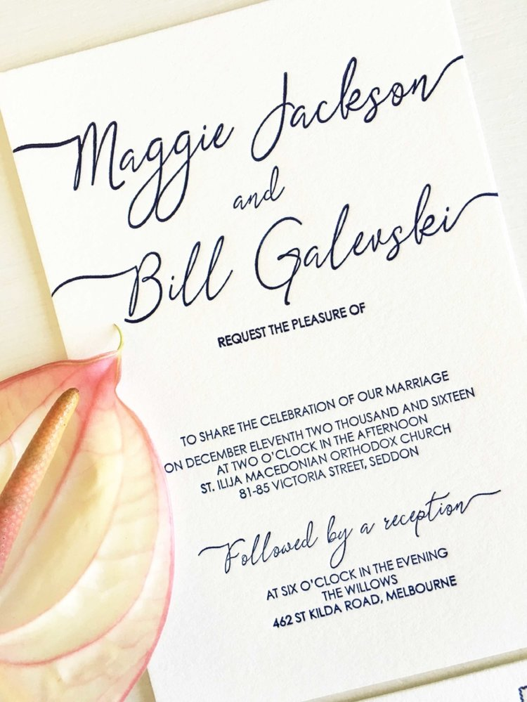 Calligraphy Wedding Invitations — Coco Press