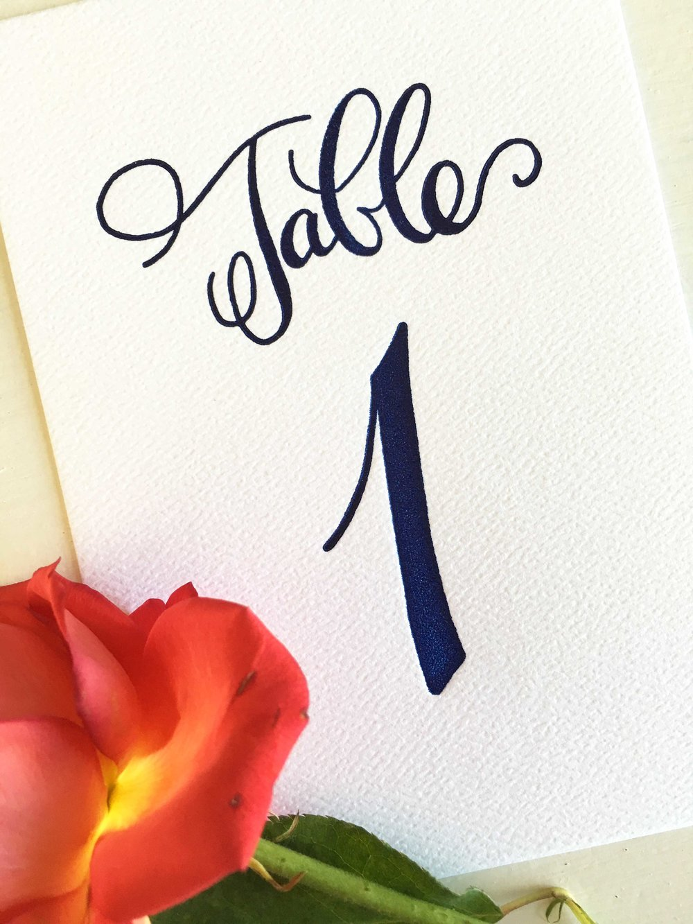 Letterpress Wedding table Numbers