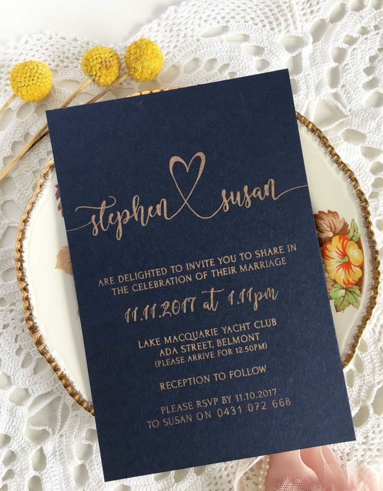 Navy and gold wedding invitations coco press navy and gold wedding invitations junglespirit Image collections
