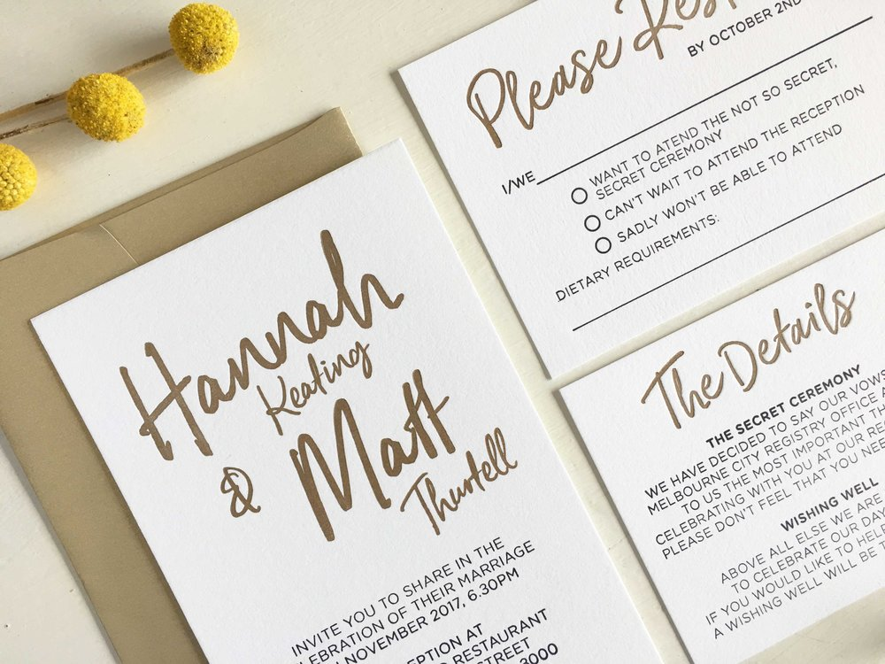 Gold Calligraphy Invitations