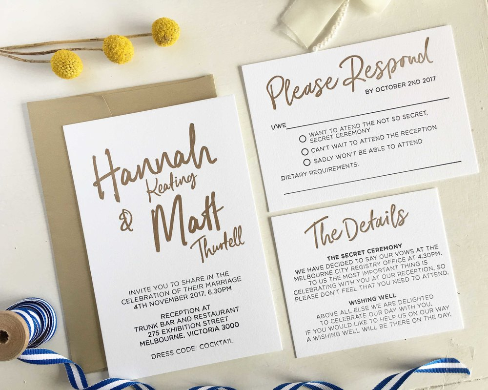 Gold Letterpress Invitations
