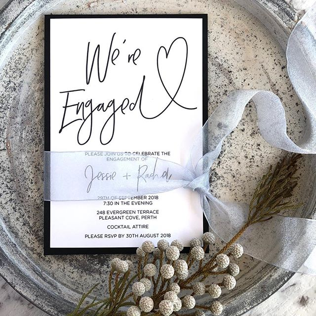 You're engaged! Congratulations! I have lots of fun and beautiful engagement invitations ready for you.  #engaged #engagementparty #engagementinvites #engagementinvitations #wereengaged