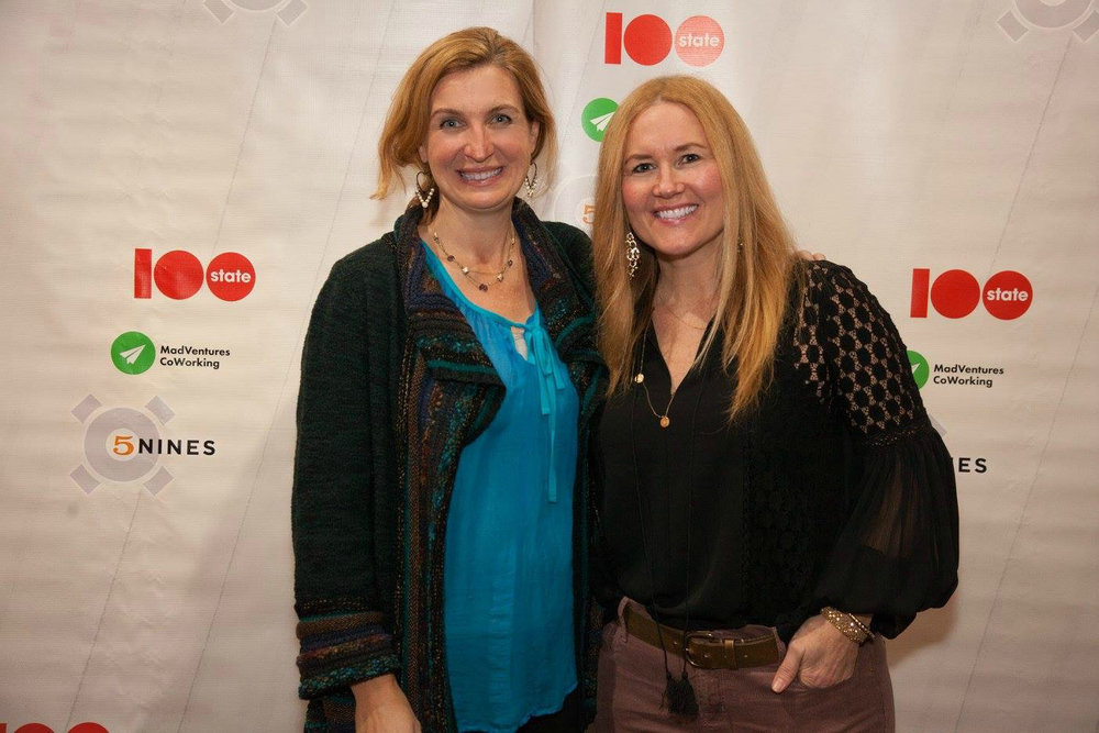 Corinne Neil and Megan Boswell, at the annual party for 100STATE Coworking, at Madison Museum of Contemporary Art.
