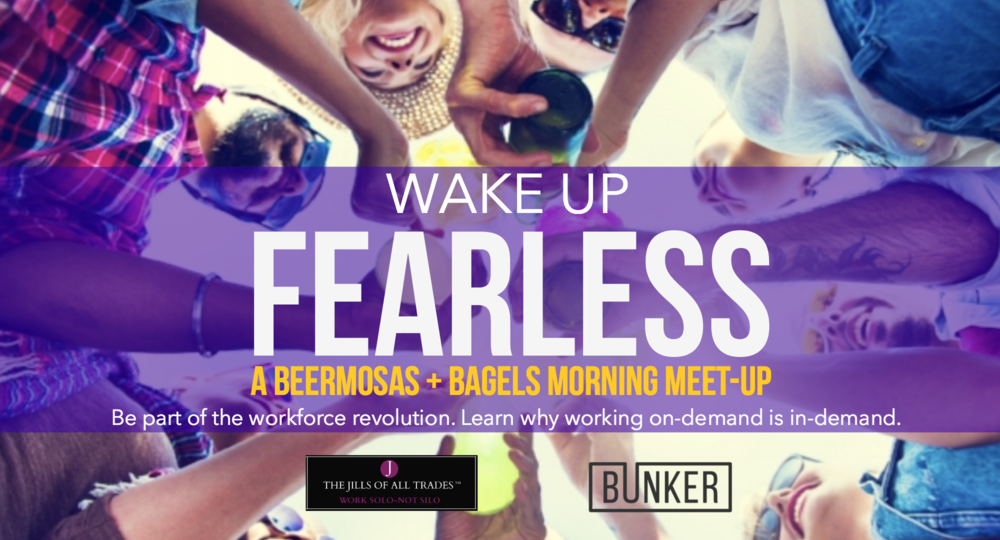 THE JILLS OF ALL TRADES™ and Bunker Insurance cohosting a beermosas + bagels morning meet-up. Be part of the workforce revolution! Learn why working on-demand is in-demand. Business insurance and promotional marketing for: Independent contractors, Consultants, Freelancers