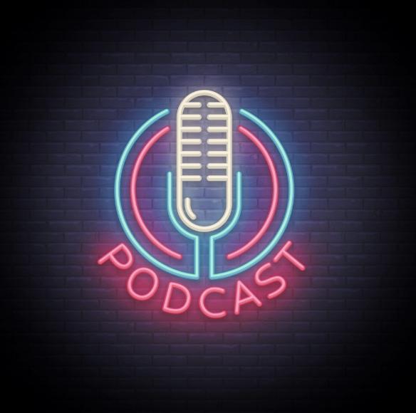 Podcast Neon sign vector design template. Podcast neon logo, light banner design element colorful modern design trend, night bright advertising, bright sign. Vector illustration
