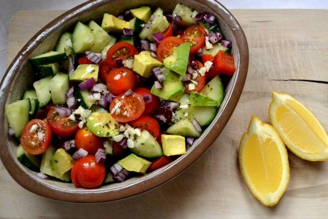 Recipe found at  http://goodnessme.ca/blog/detox-salad-with-lemony-dressing-2/