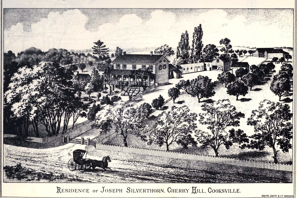 This is an illustration from the Historical Atlas of Peel County of the Cherry Hill homestead occupied by Joseph & Jane Silverthorn