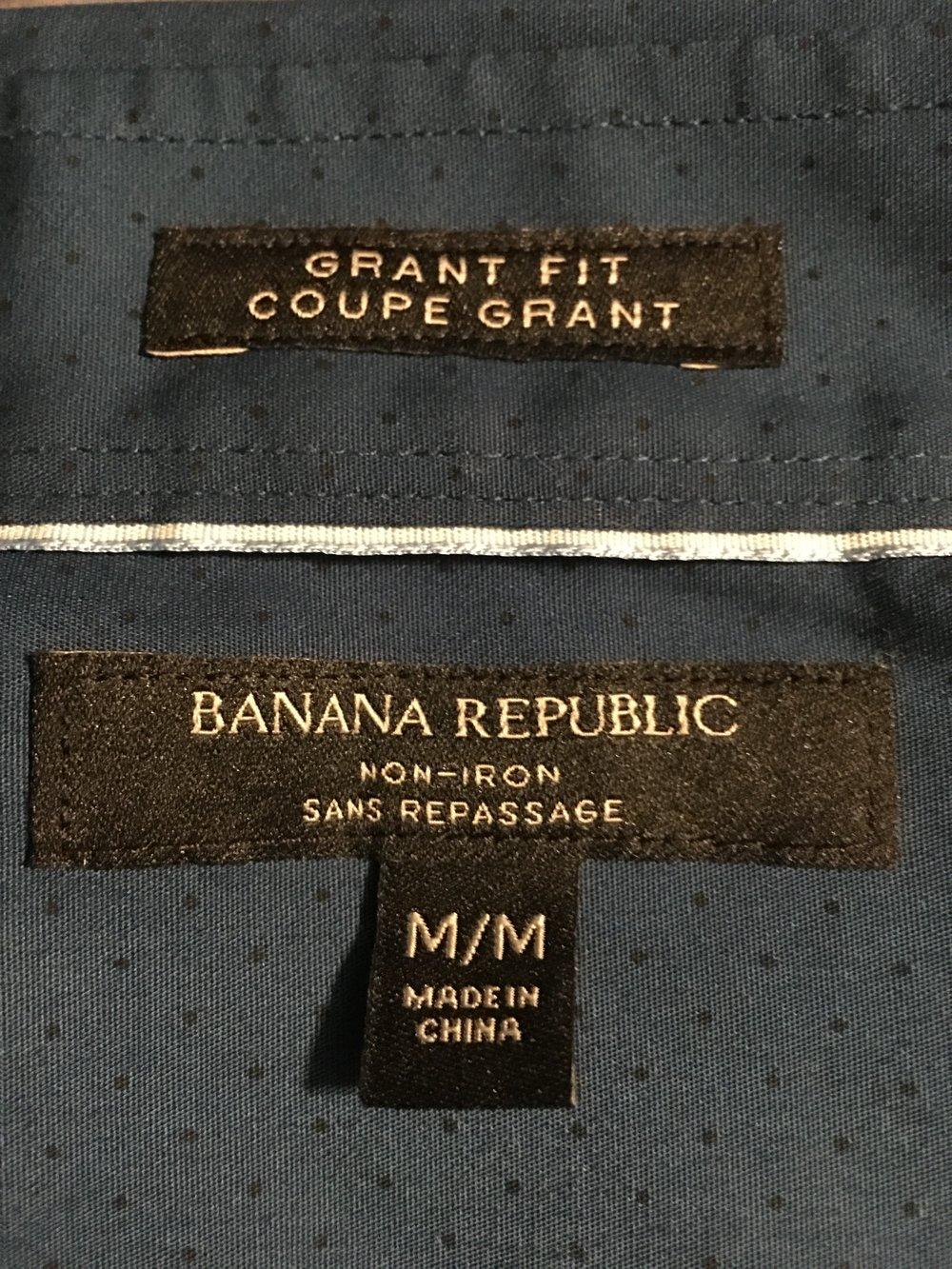 Banana Republic retail tag (no diamonds on label)
